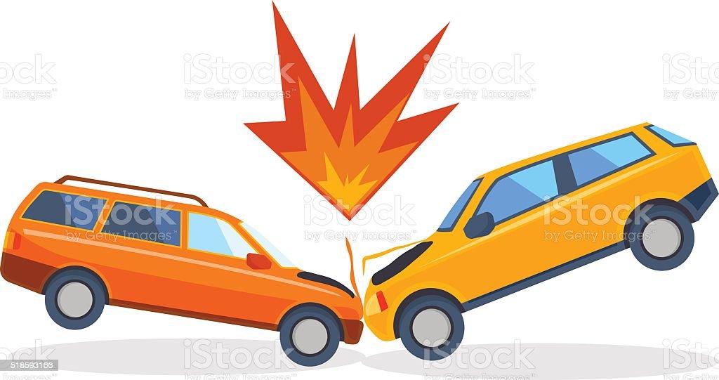 Accident road on street damaged automobiles after collision car crash vector art illustration
