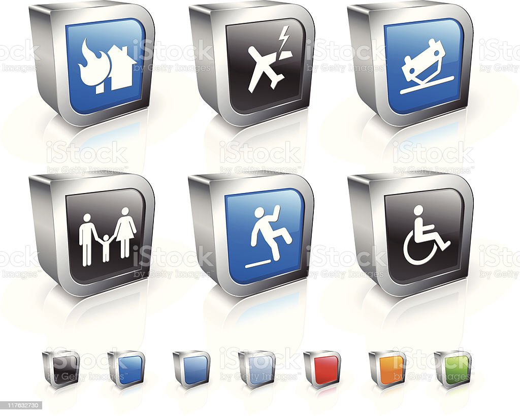 accidental insurance 3D royalty free vector icon set royalty-free stock vector art