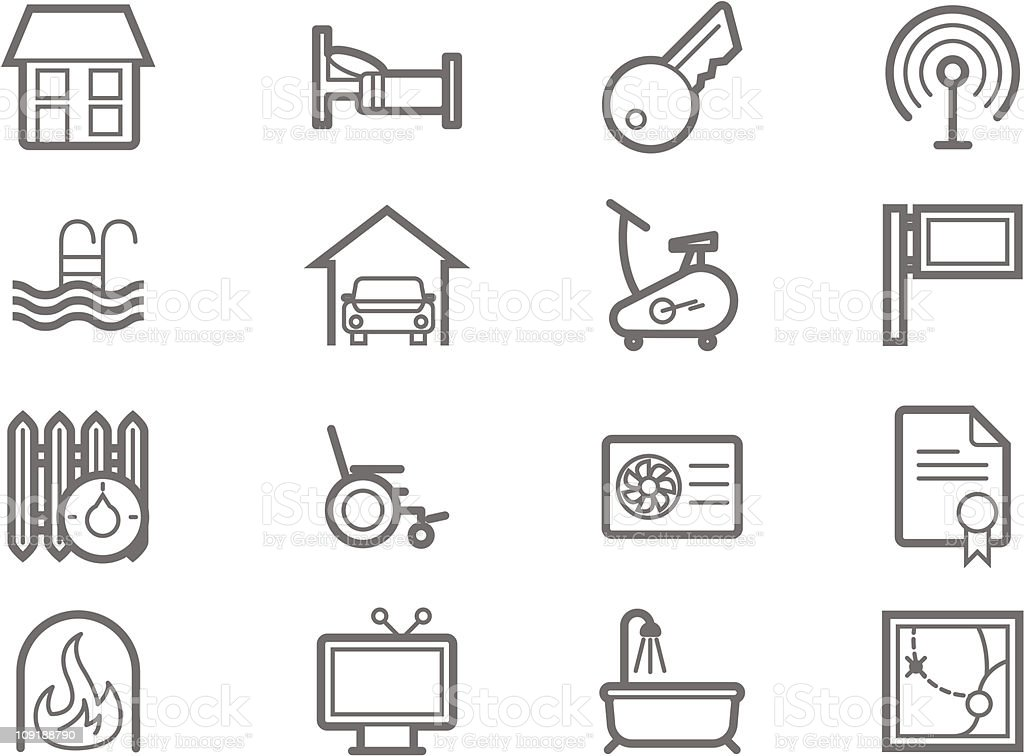 Accommodation amenities icon set royalty-free stock vector art