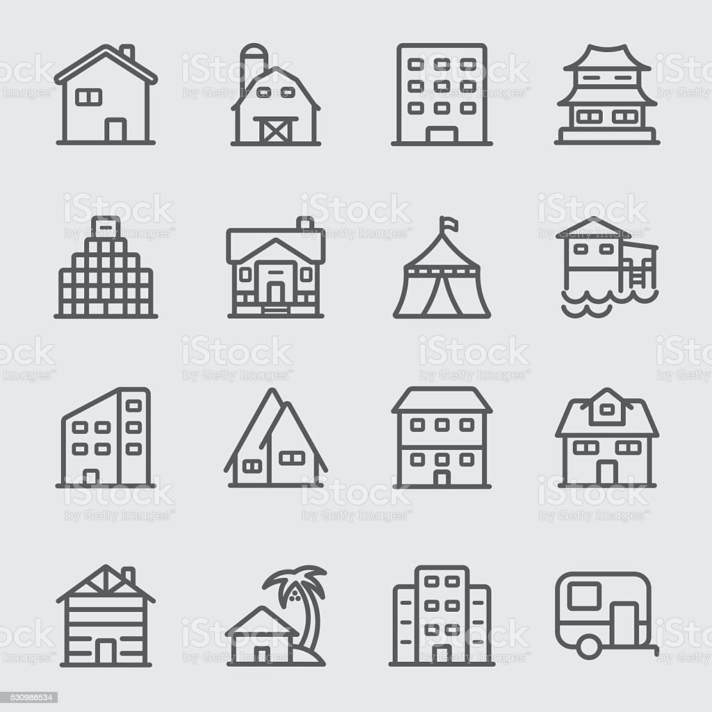 Accommodation line icon vector art illustration