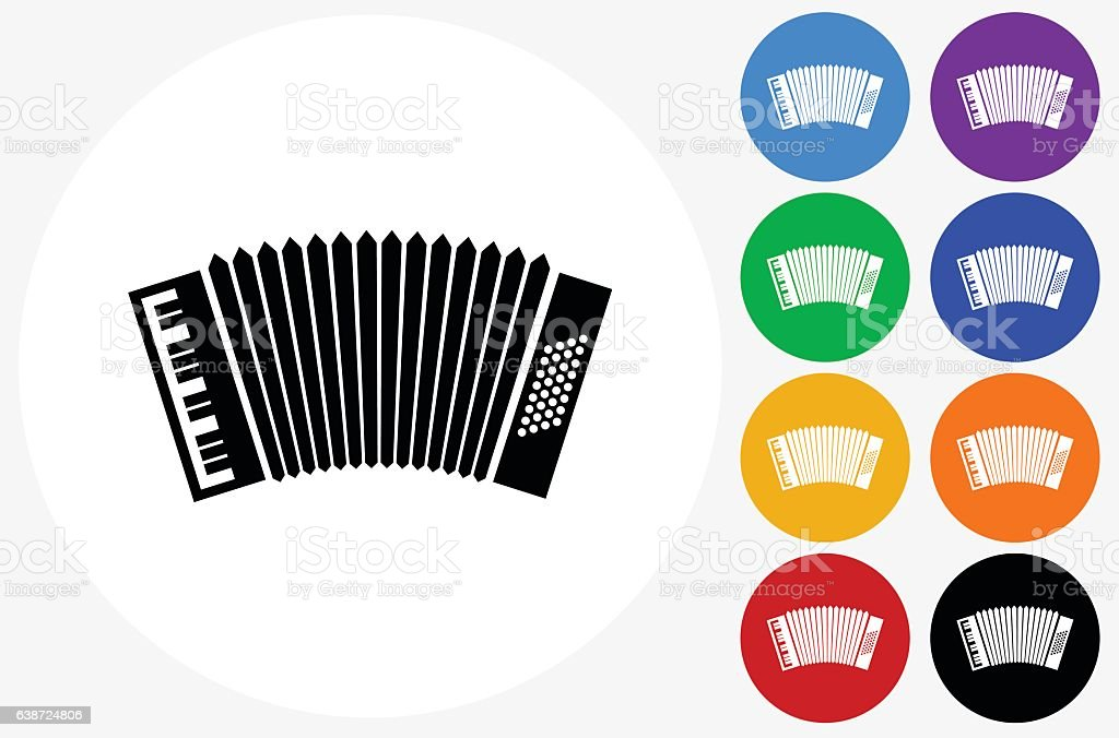 Accordion Icon on Flat Color Circle Buttons vector art illustration