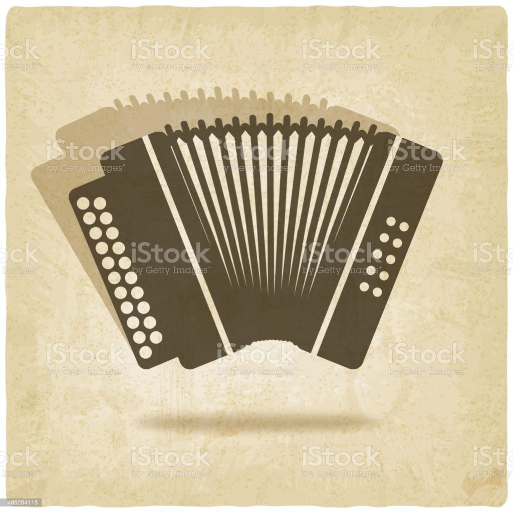 accordion old background vector art illustration