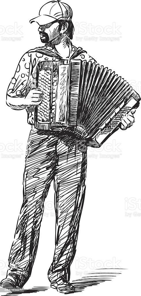 accordion player vector art illustration