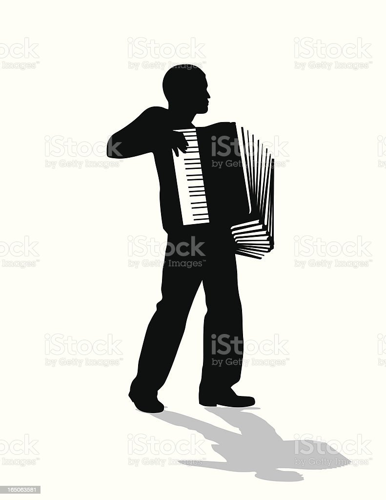 Accordion Player  Vector Silhouette vector art illustration