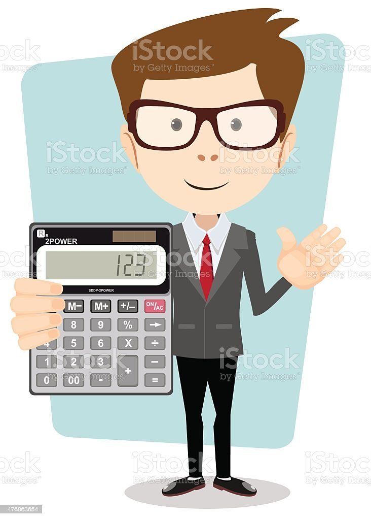 Accountant with a Calculator, Vector Illustration vector art illustration