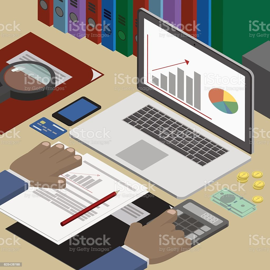 Accounting analyst at the workplace, accounting documents. Finance. Workplace isometric vector art illustration