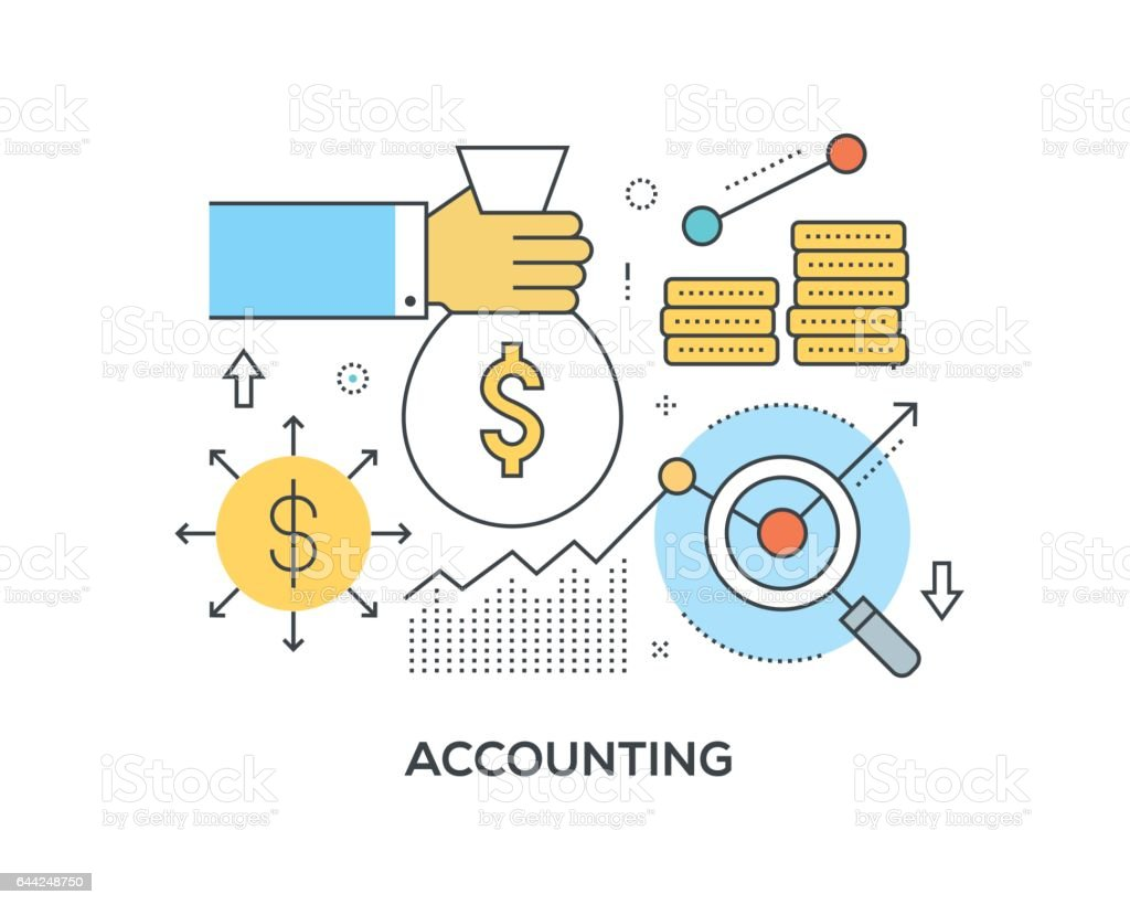 Accounting Concept with icons vector art illustration