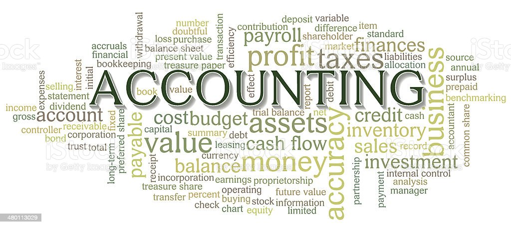 Accounting Word Cloud Word Bubble tags vector art illustration