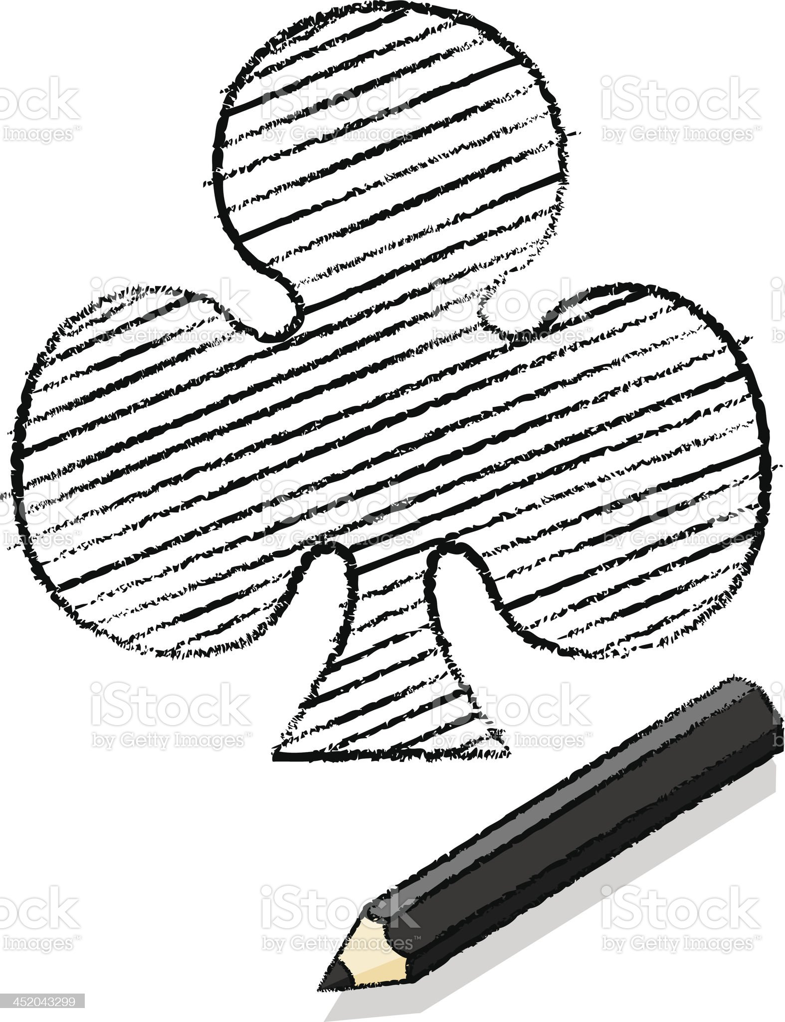 Ace of Clubs Playing Card Icon Drawn by Black Pencil royalty-free stock vector art