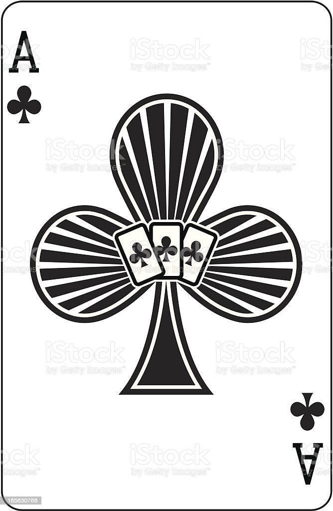 Ace of Clubs with cards vector art illustration