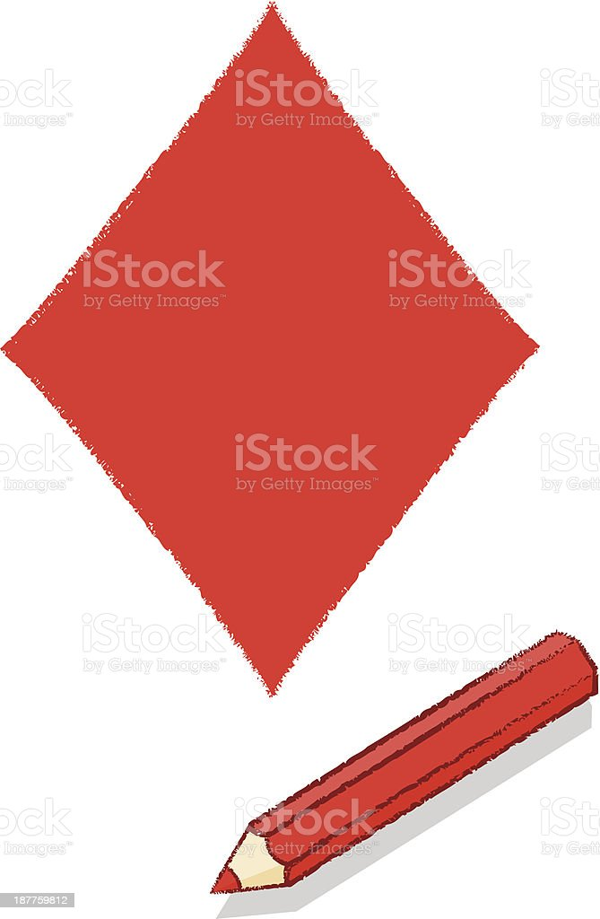 Ace of Diamonds Playing Card Icon Drawn by Red Pencil royalty-free stock vector art