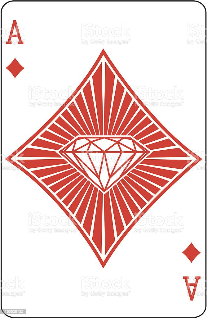 Ace of Diamonds with diamond playing card vector art illustration
