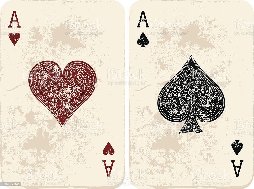 Ace of Hearts & Spades vector art illustration