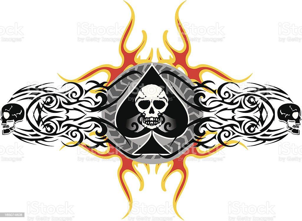 ace of spades and skulls logo vector art illustration
