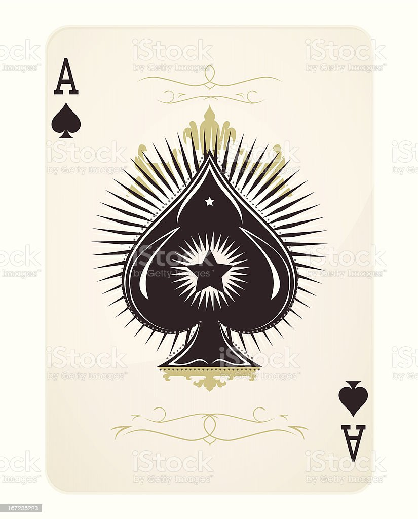 Ace of spades playing card design vector art illustration