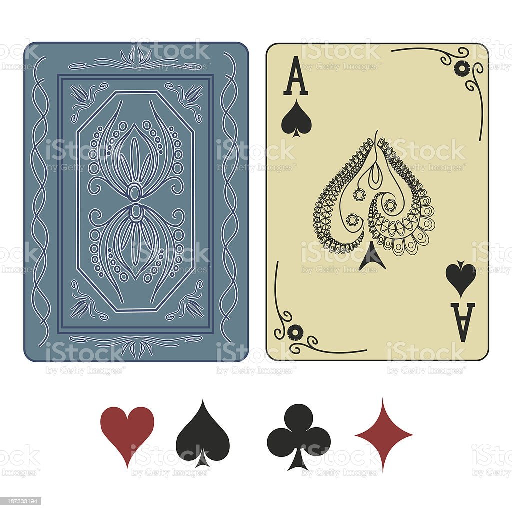 Ace of spades playing card with back vector art illustration