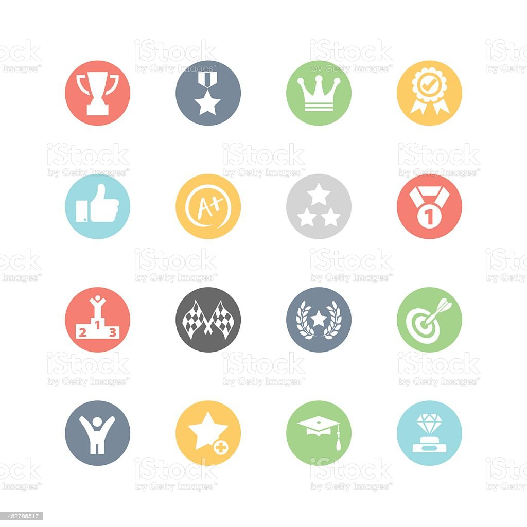 Achievement and Awards Icons : Minimal Style vector art illustration