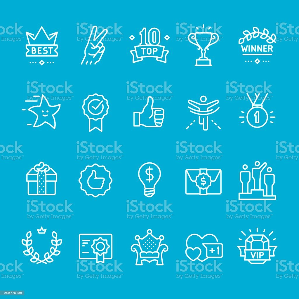 Achievement and Trophy icons collection vector art illustration