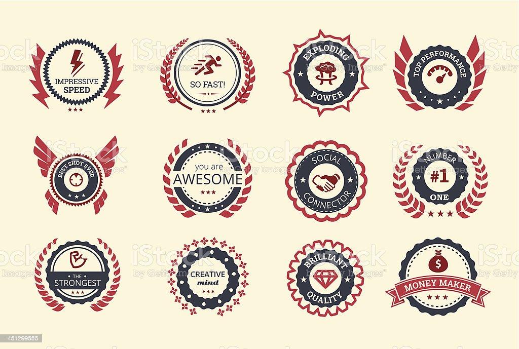 Achievement Badges vector art illustration