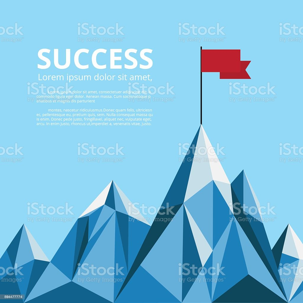 Achievement banner. Flag on top of mountain. Successful concept. vector art illustration