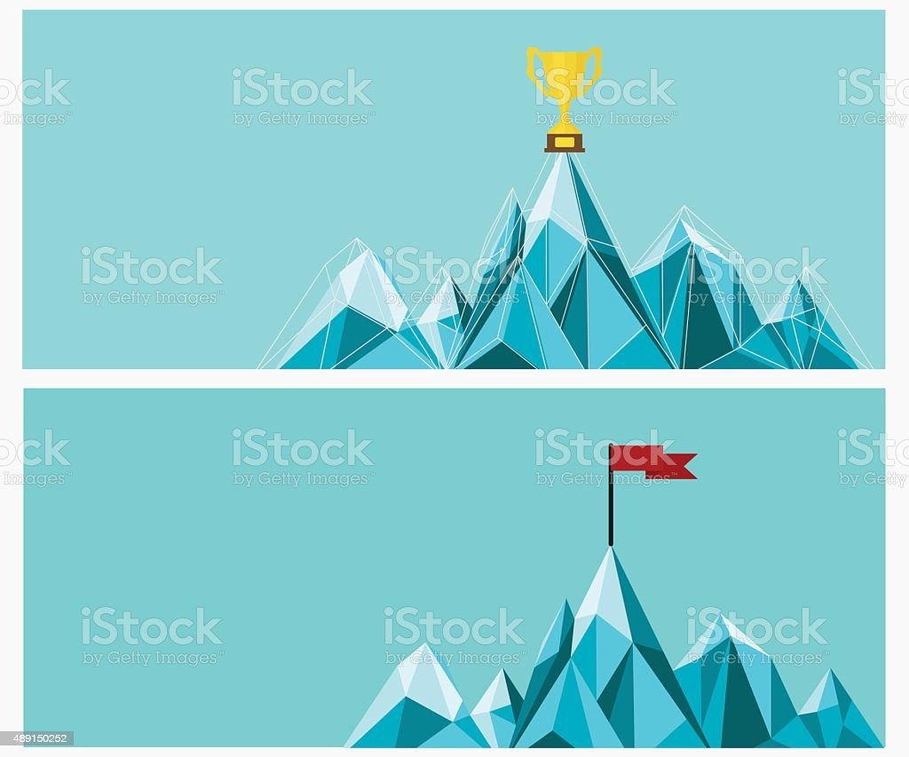 Achievement banner set. Trophy and Flag on mountain. vector art illustration
