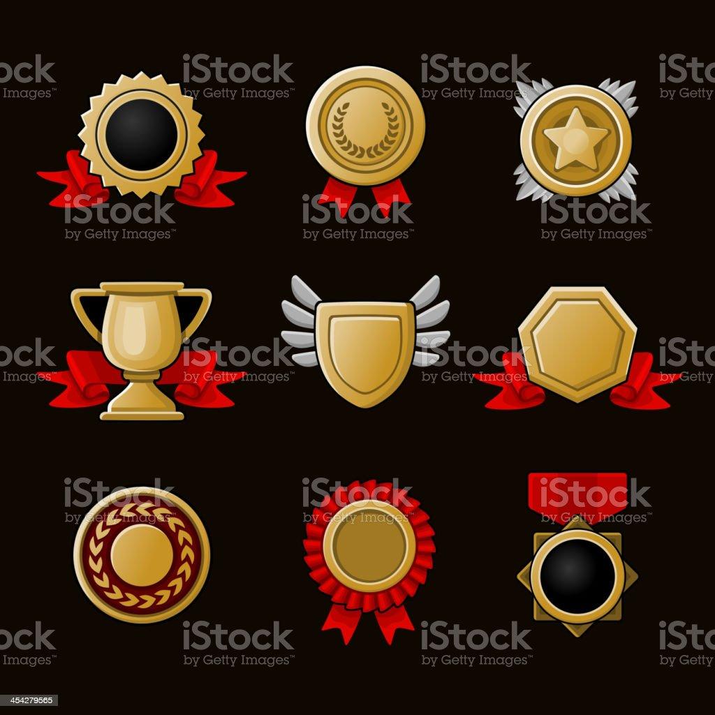 Achievement icons set royalty-free stock vector art