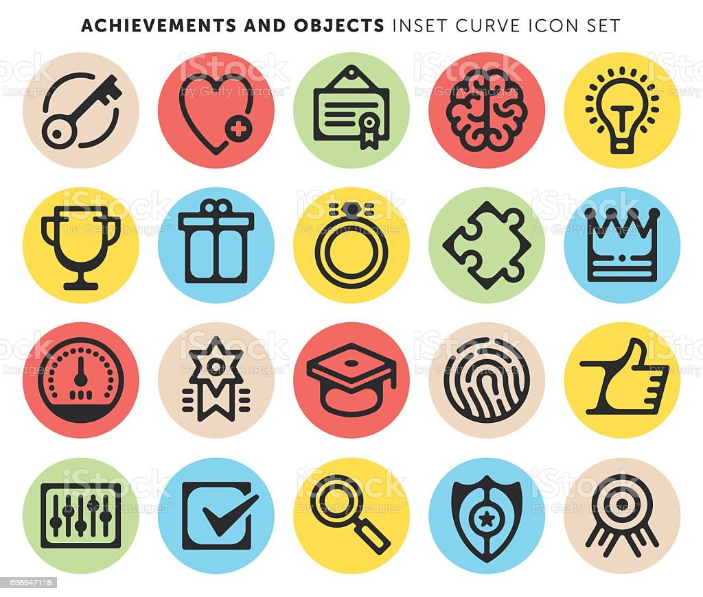 Achievements And Objects vector art illustration