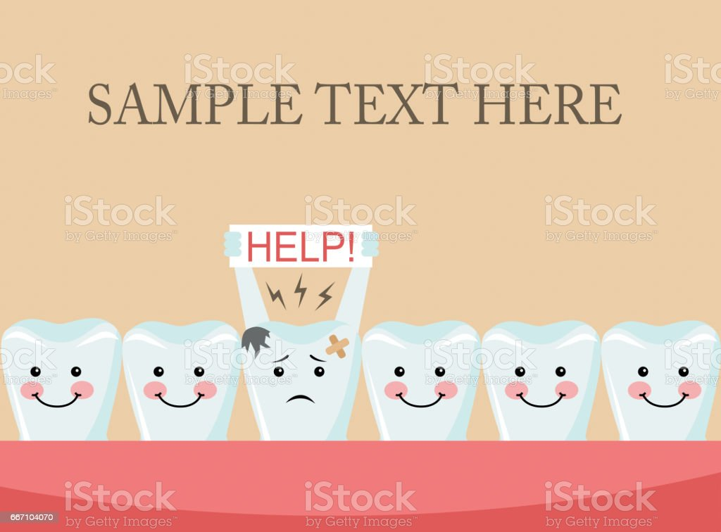 aching tooth among healthy teeth vector art illustration