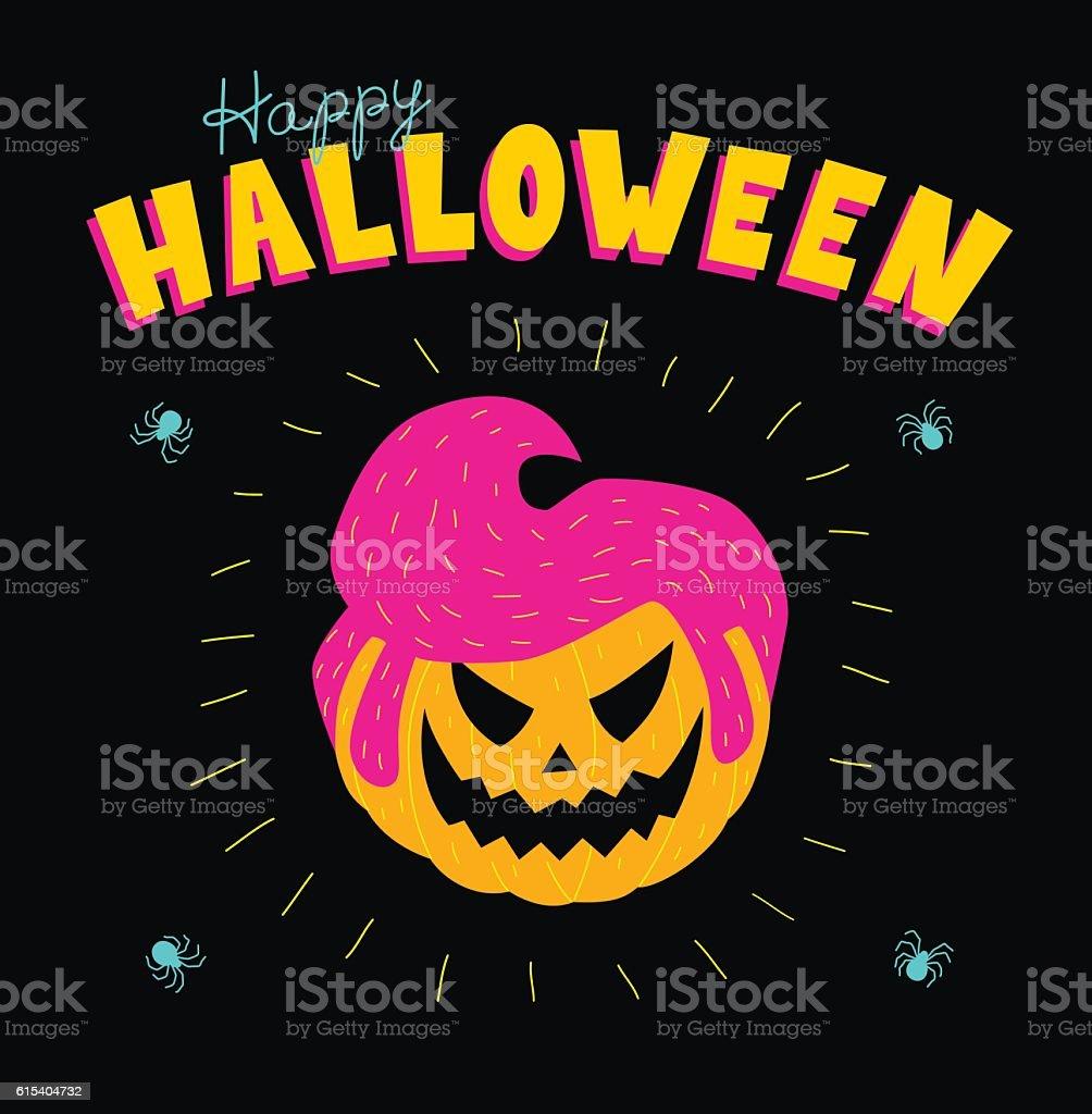 acid rockabilly pumpkin vector art illustration