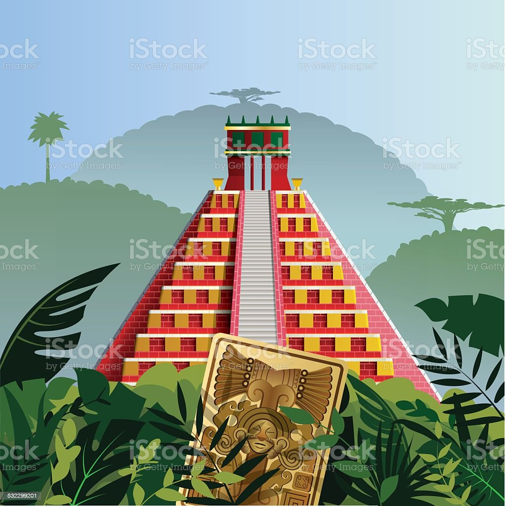 Acient Mayan Pyramid vector art illustration