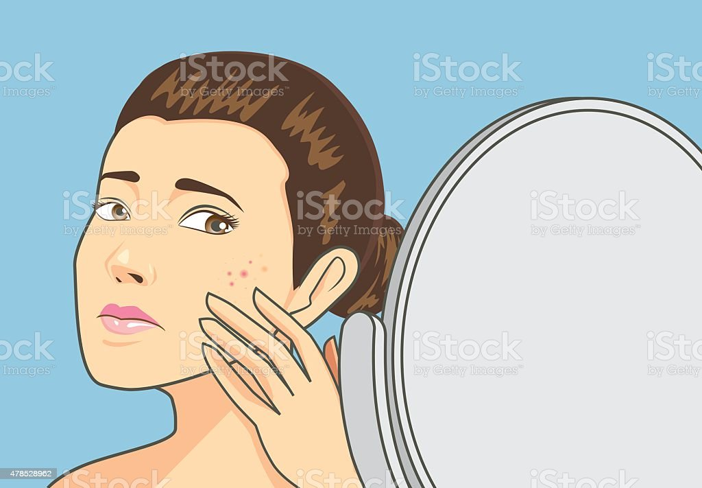 Acne skin on women face vector art illustration