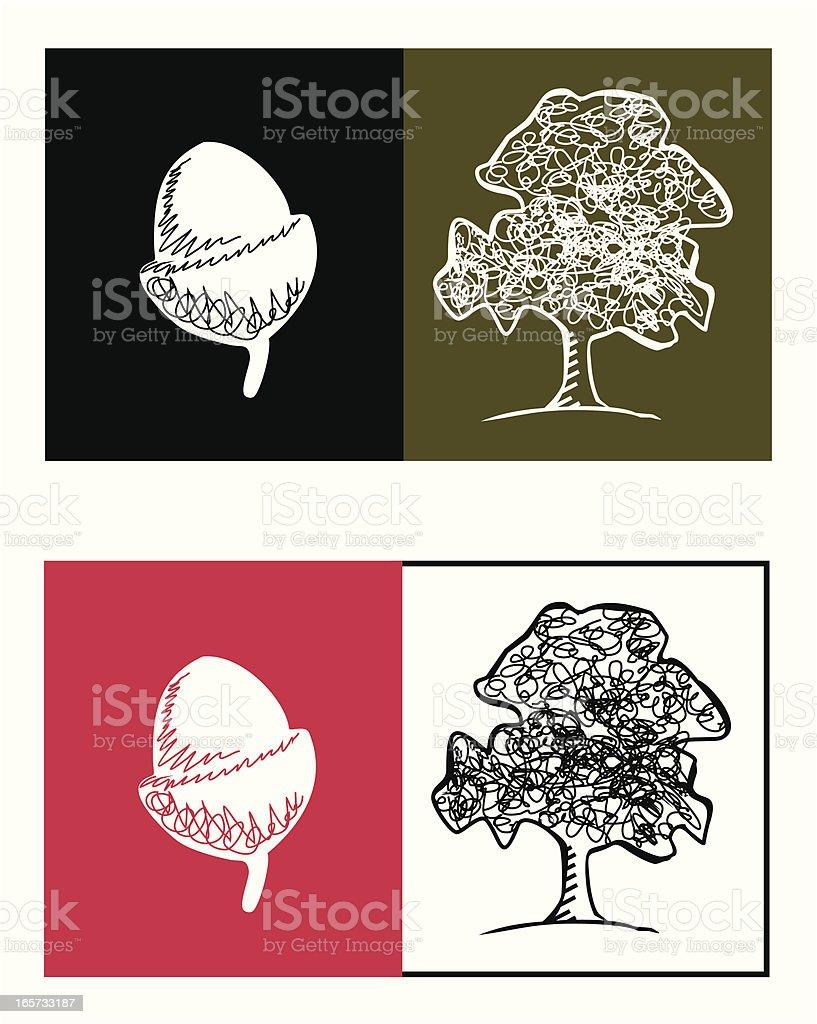 Acorn and Oak Tree royalty-free stock vector art
