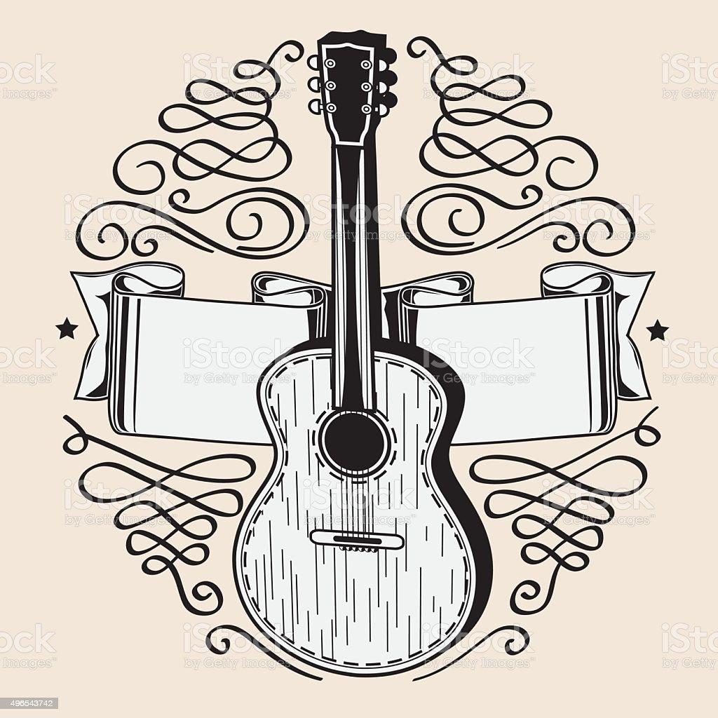 Acoustic guitar emblem vector art illustration