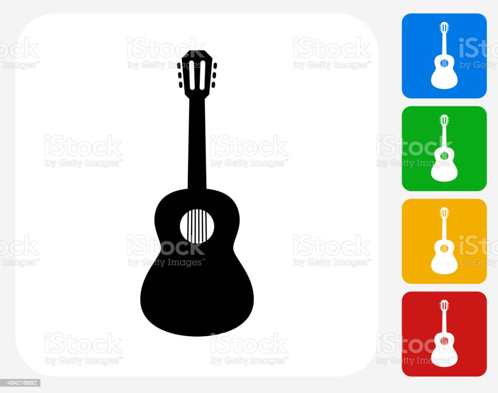 Acoustic Guitar Icon Flat Graphic Design vector art illustration