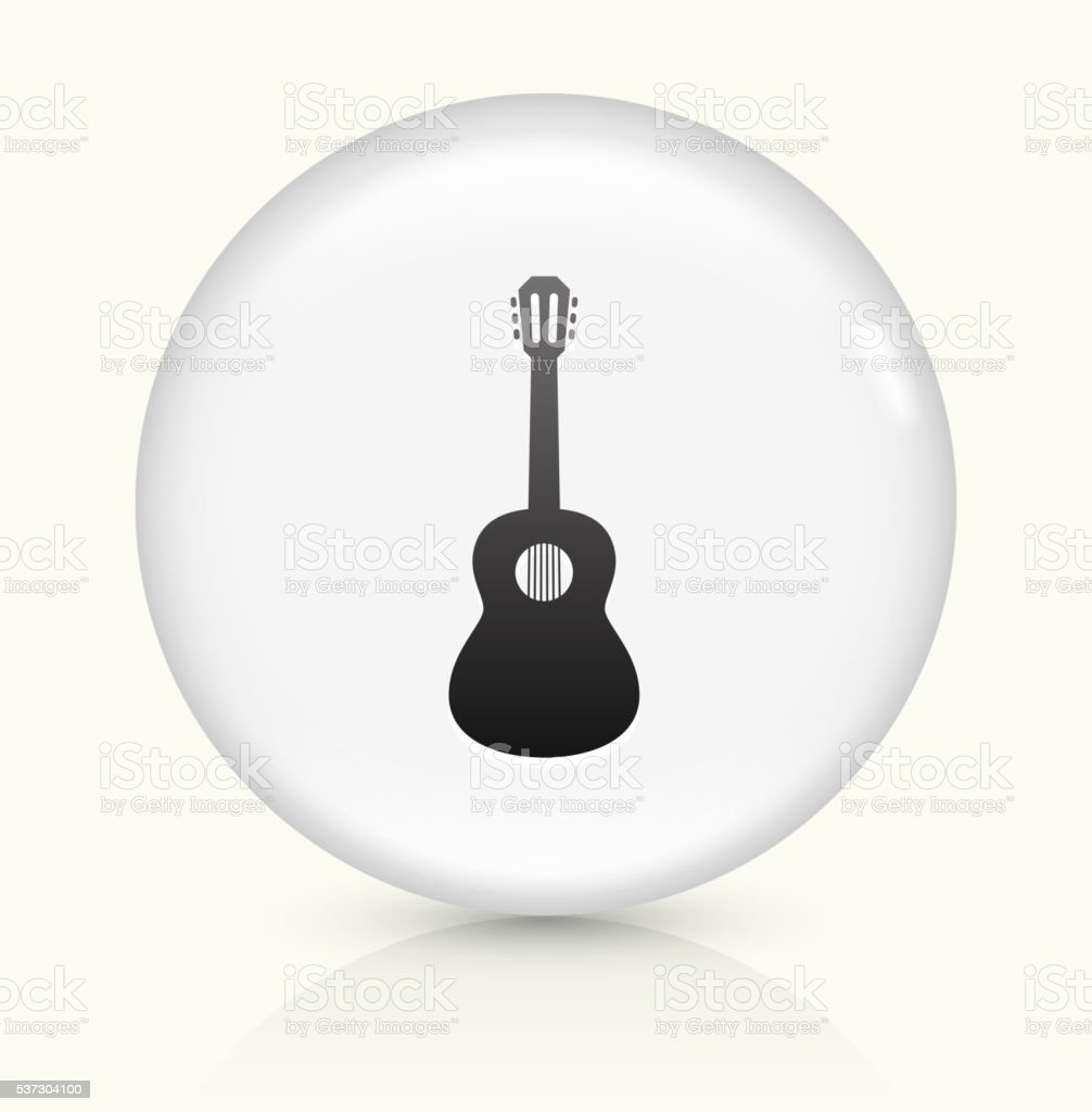 Acoustic Guitar icon on white round vector button vector art illustration