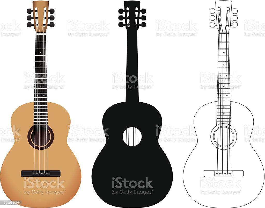 acoustic guitar set vector art illustration