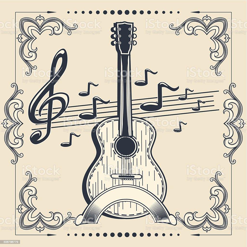 Acoustic Guitar vector art illustration