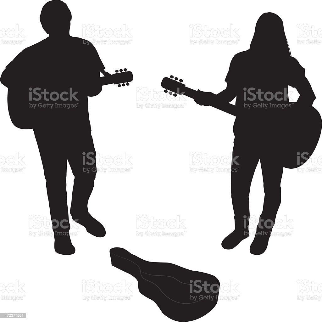 Acoustic Guitarist Silhouettes royalty-free stock vector art