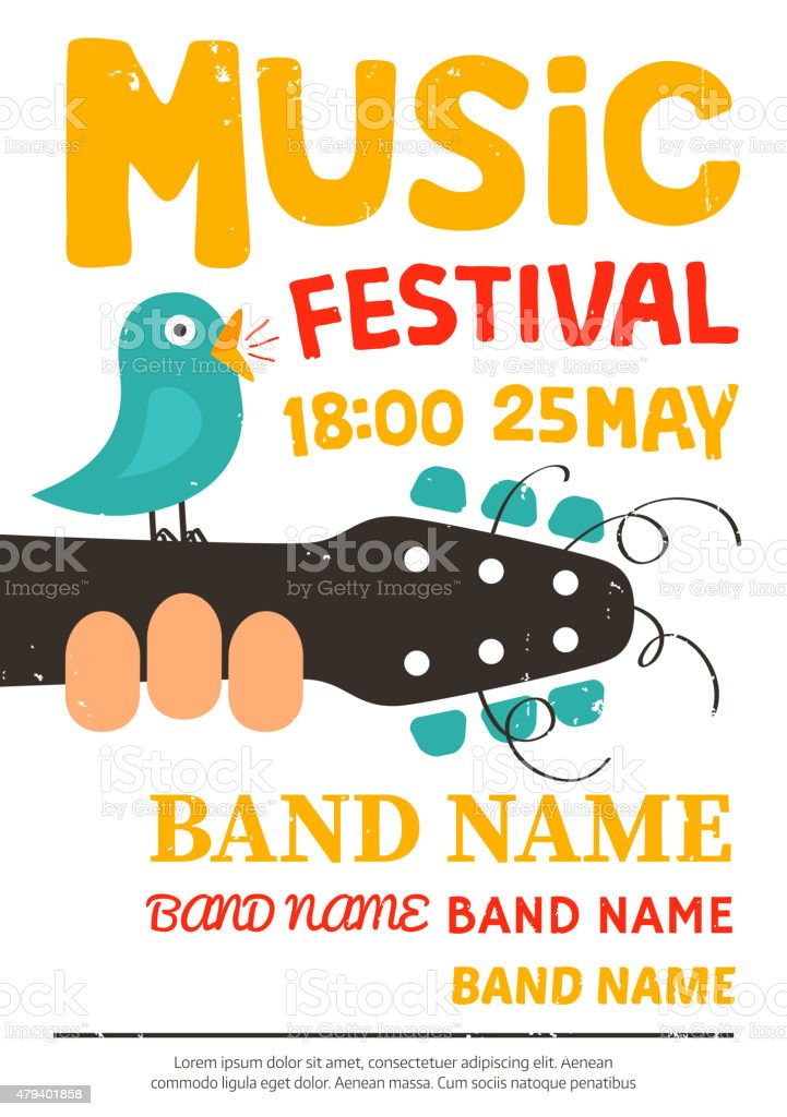 Acoustic music festival poster with a bird singing on a guitar vector art illustration