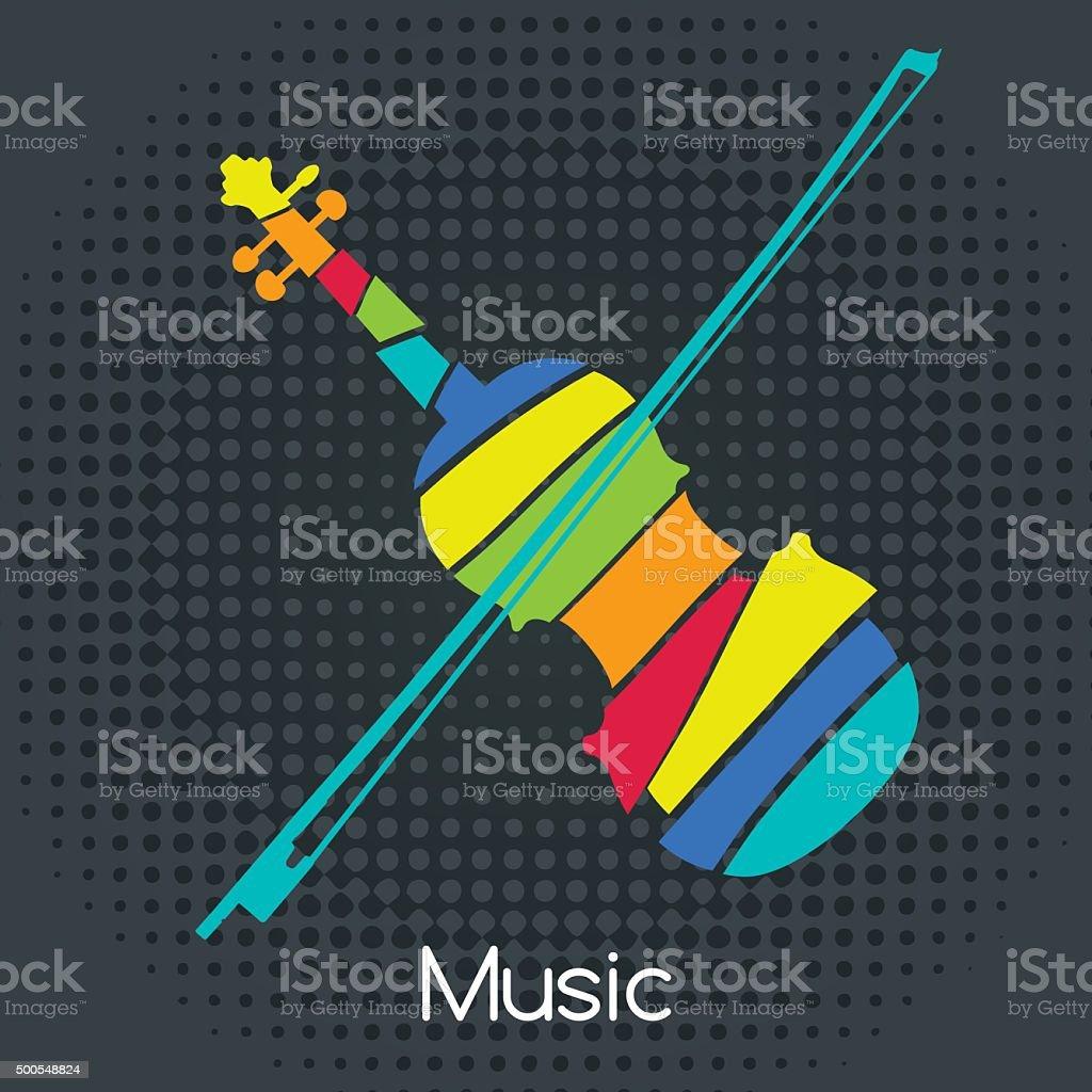 acoustic Retro Violin vector art illustration