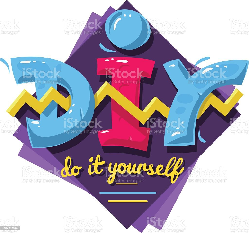 DIY Acronym. Do It Yourself. 90 s Vibrant Colors Aesthetic vector art illustration