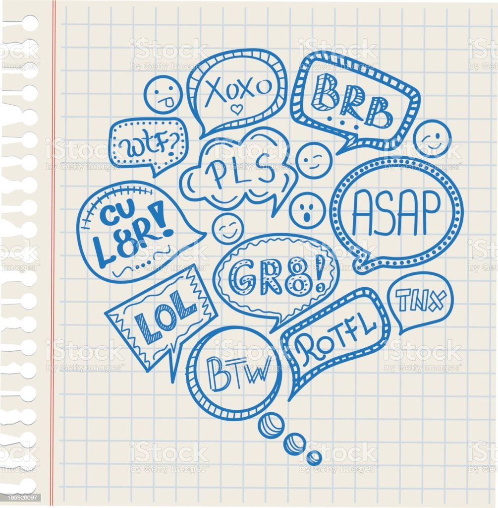 Acronyms speech bubble vector art illustration