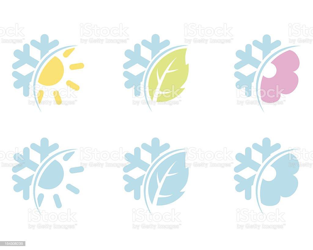 Across seasons symbols royalty-free stock vector art