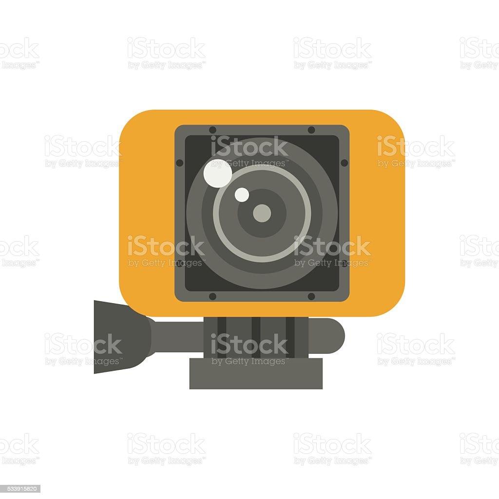 Action Camera in Yellow Case Vector Illustration vector art illustration