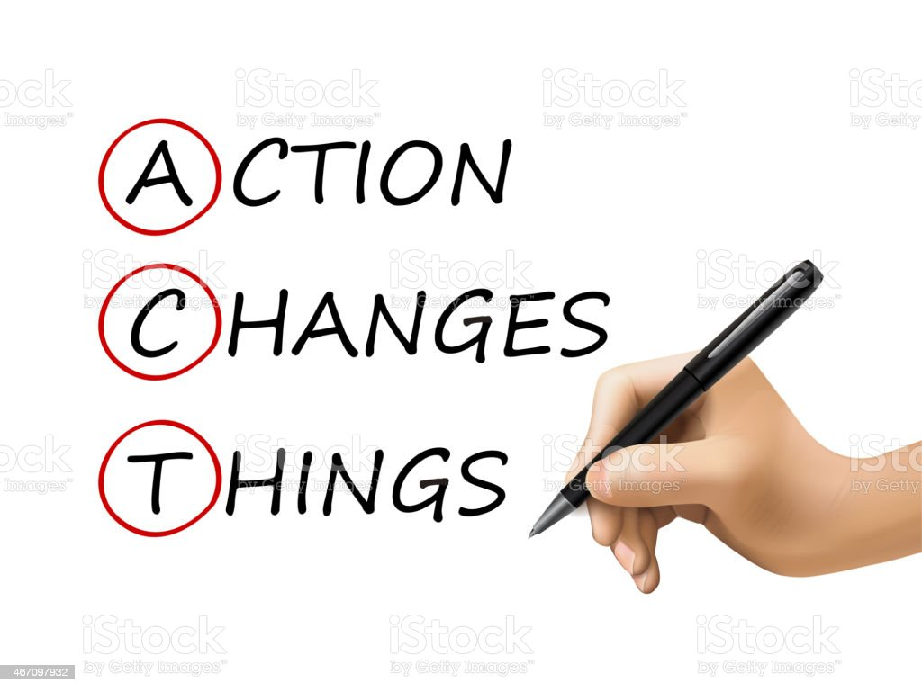 action changes things words written by 3d hand vector art illustration