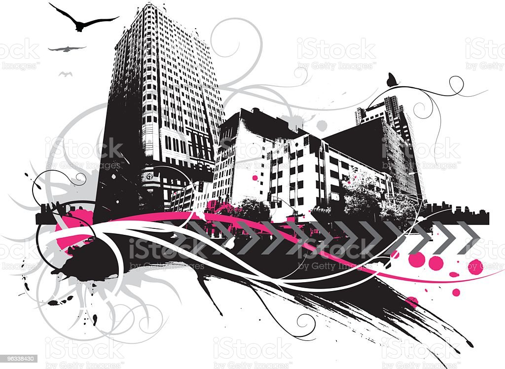 Action City vector art illustration