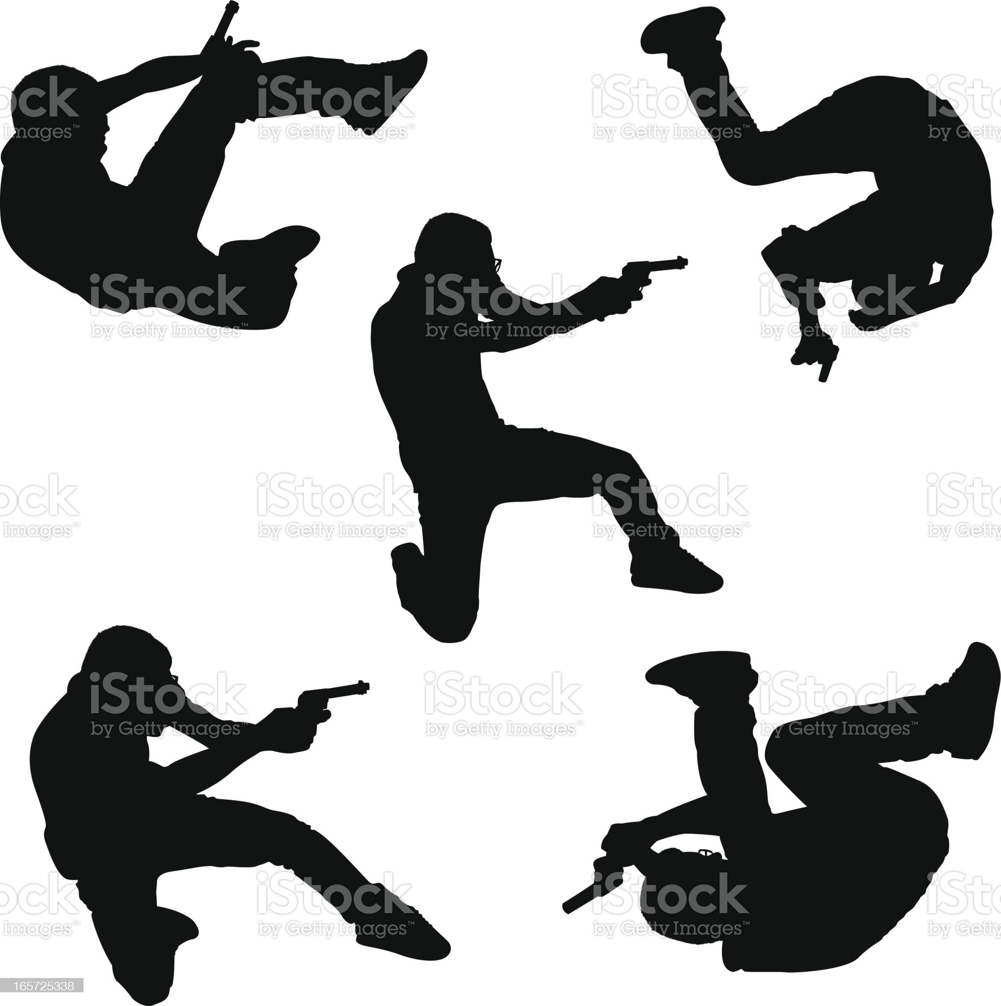 Action heroes with handguns royalty-free stock vector art