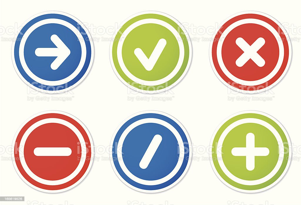 action icons round stickers vector art illustration