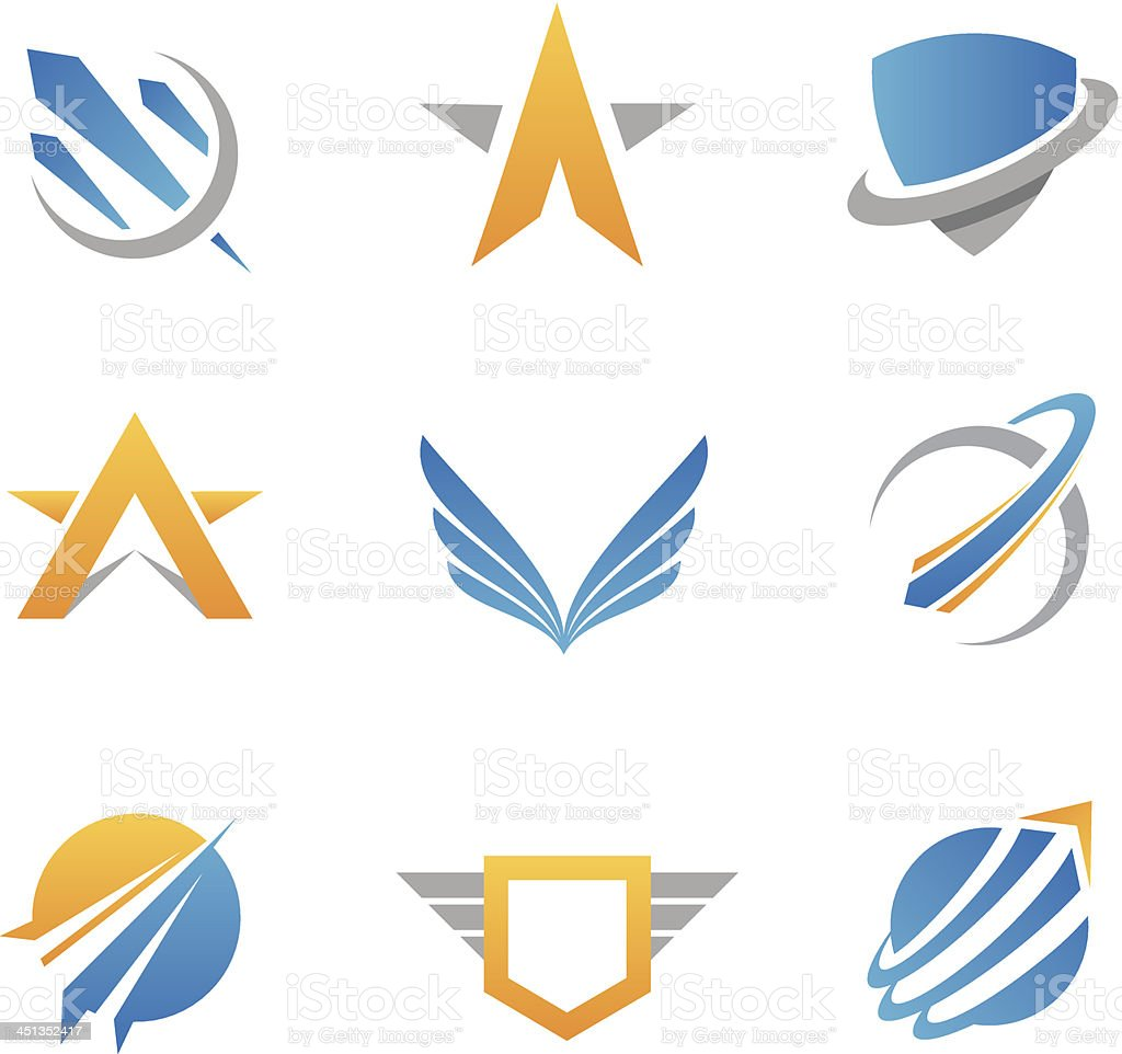 Action logos and icons vector art illustration
