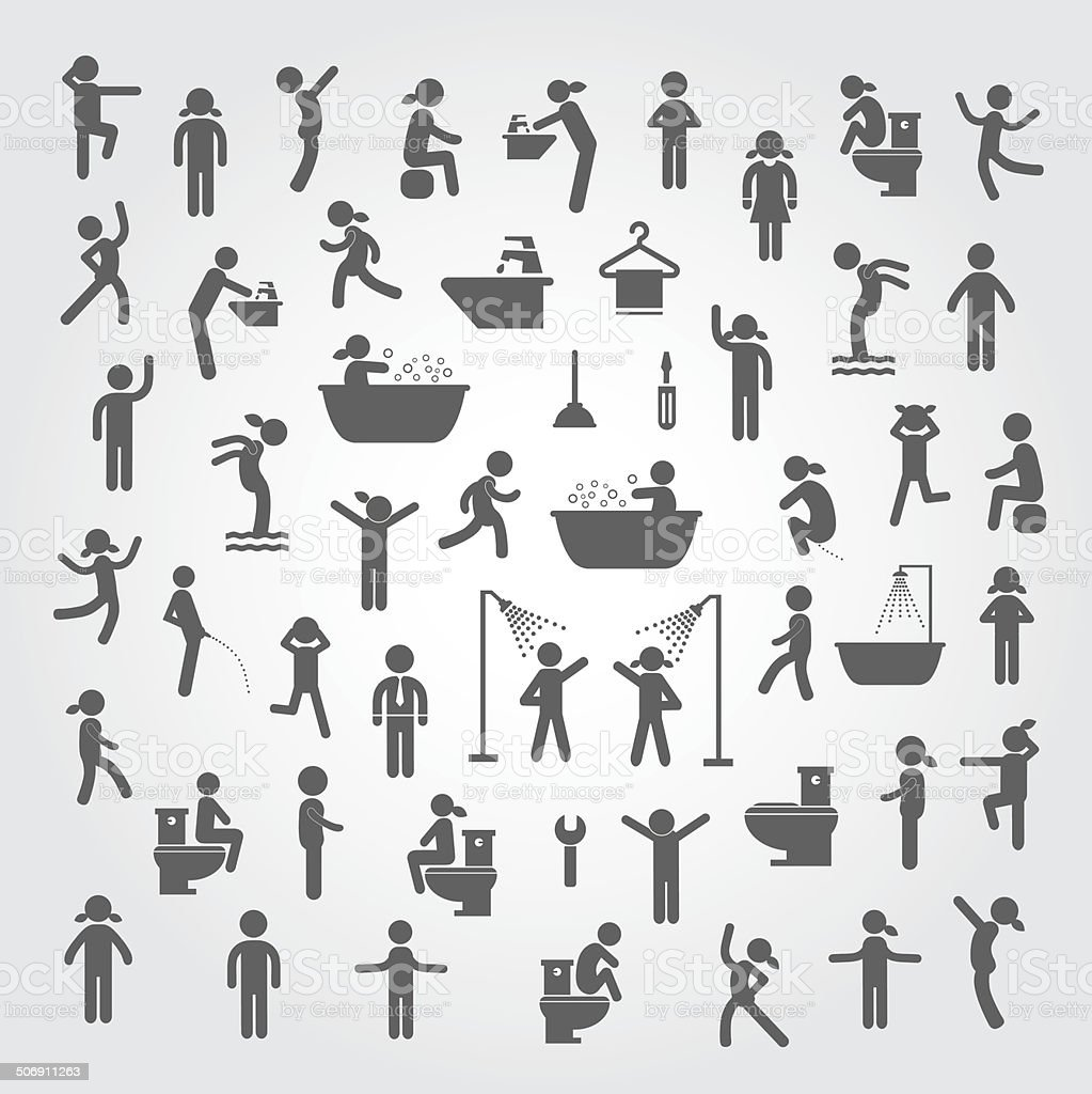 action people and  hygiene icons set vector art illustration
